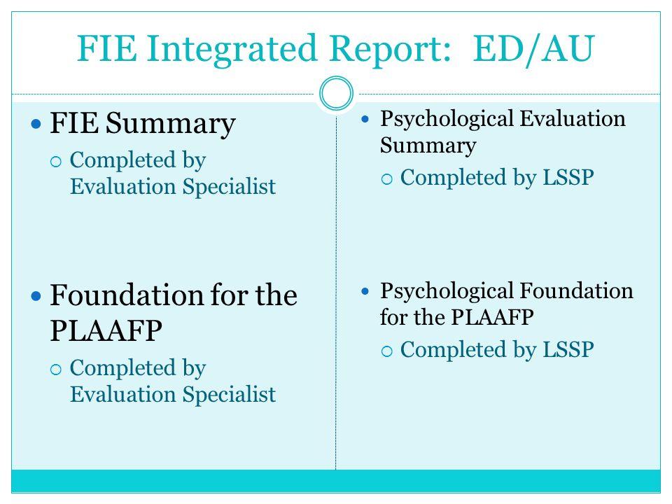 FIE Integrated Report: ED/AU