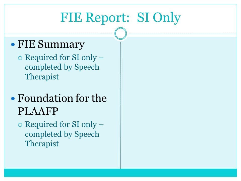 FIE Report: SI Only FIE Summary Foundation for the PLAAFP