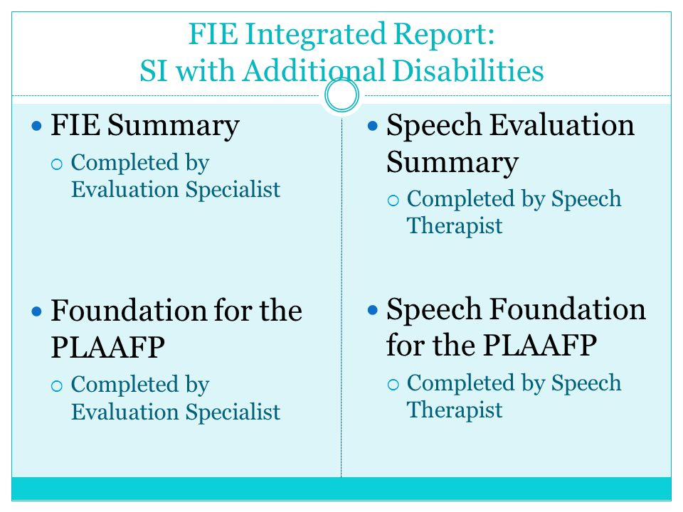FIE Integrated Report: SI with Additional Disabilities