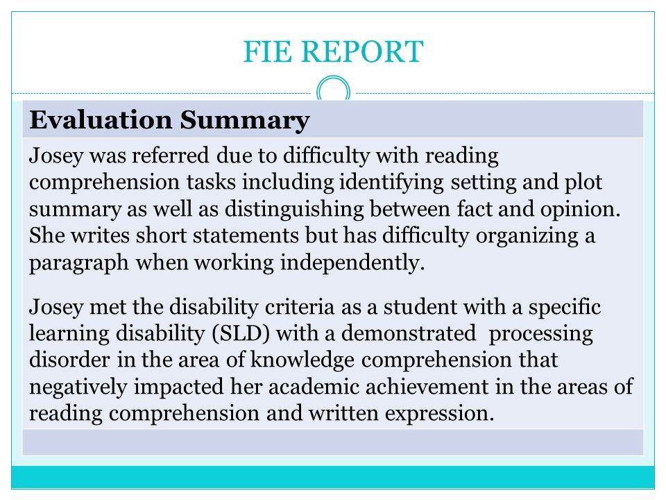 FIE REPORT Evaluation Summary