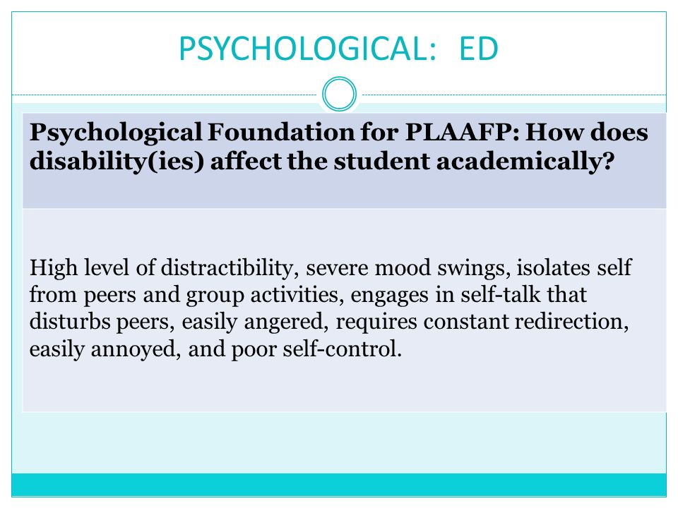 PSYCHOLOGICAL: ED Psychological Foundation for PLAAFP: How does disability(ies) affect the student academically