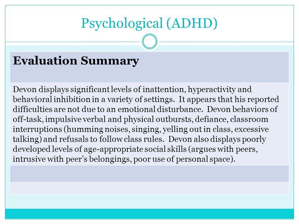 Psychological (ADHD) Evaluation Summary