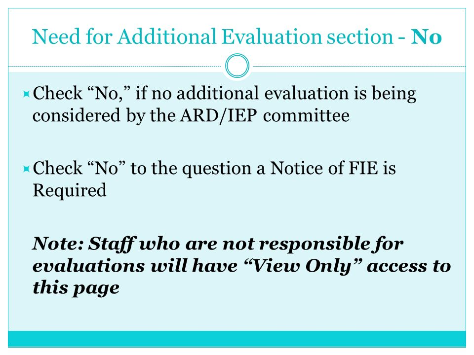 Need for Additional Evaluation section - No