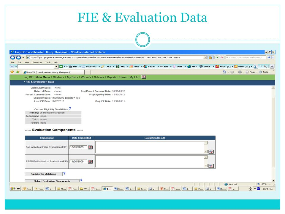 FIE & Evaluation Data There are only two input screens