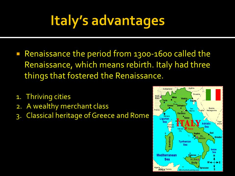 Italy's advantages