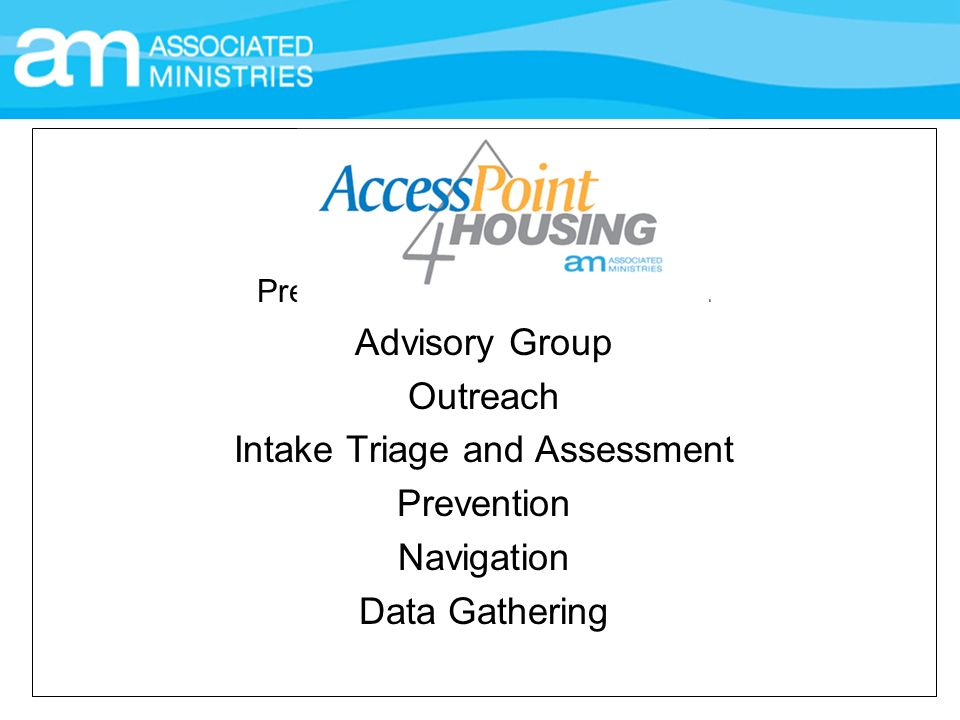 Intake Triage and Assessment Prevention Navigation Data Gathering
