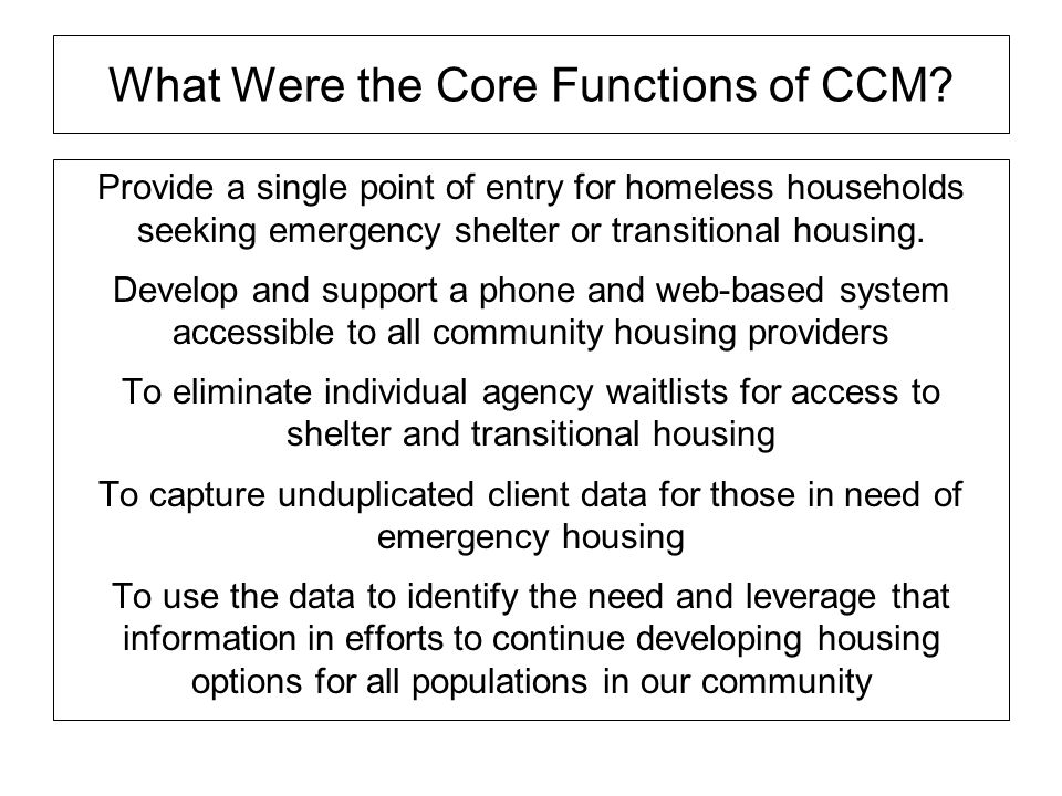 What Were the Core Functions of CCM