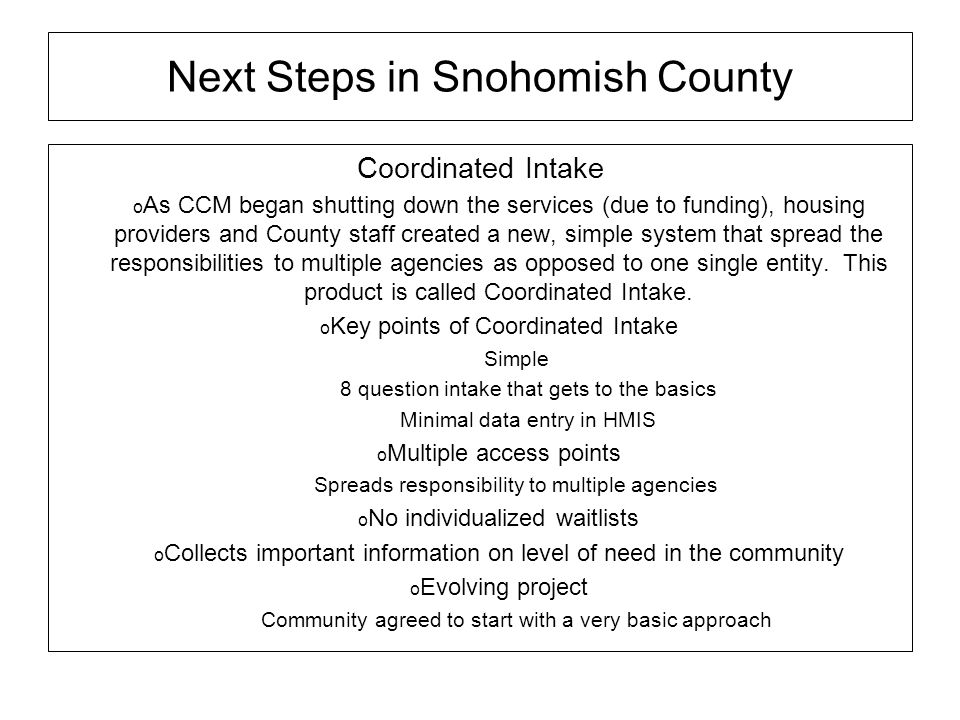 Next Steps in Snohomish County