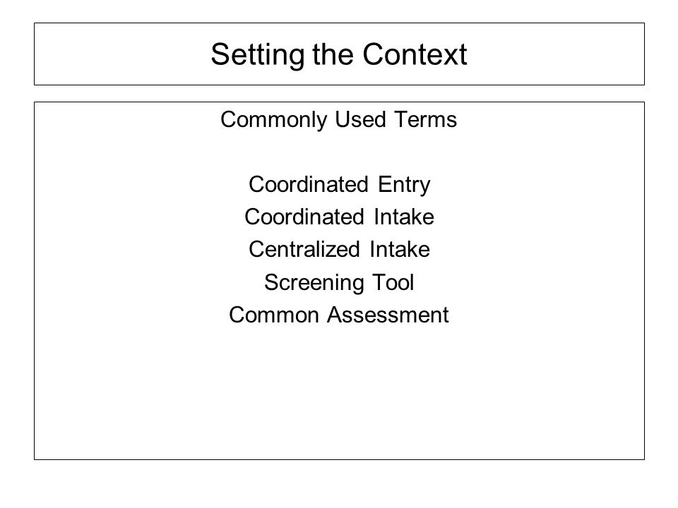 Setting the Context Commonly Used Terms Coordinated Entry