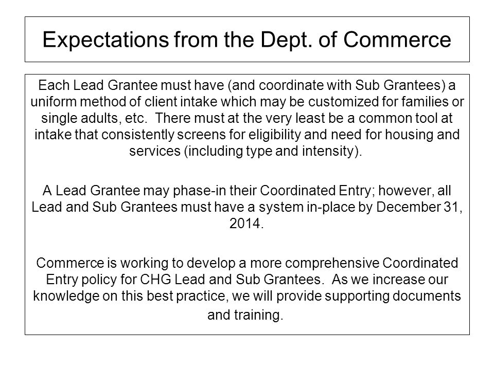 Expectations from the Dept. of Commerce