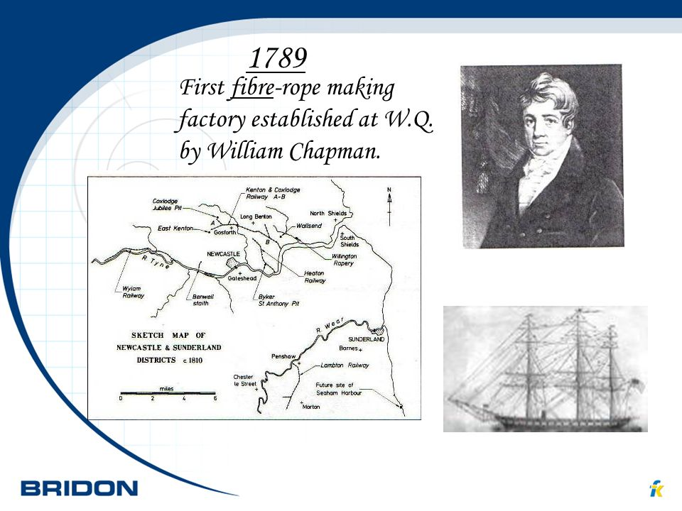 1789 First fibre-rope making factory established at W.Q. by William Chapman.
