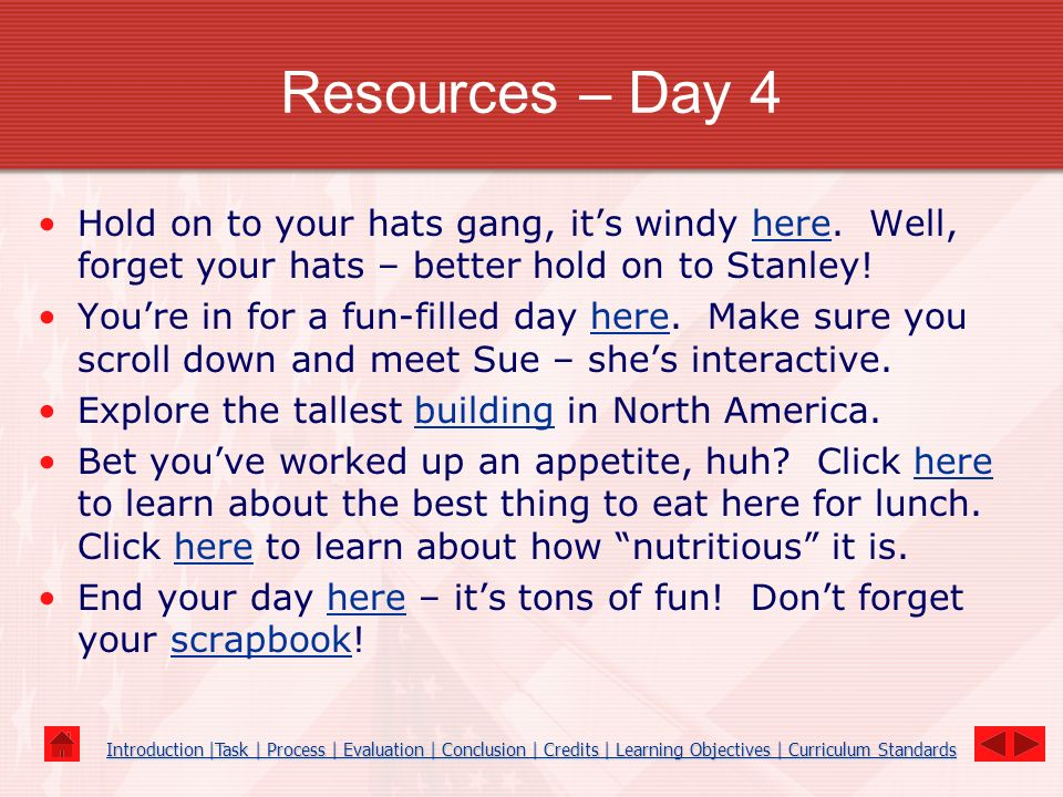 Resources – Day 4 Hold on to your hats gang, it's windy here. Well, forget your hats – better hold on to Stanley!