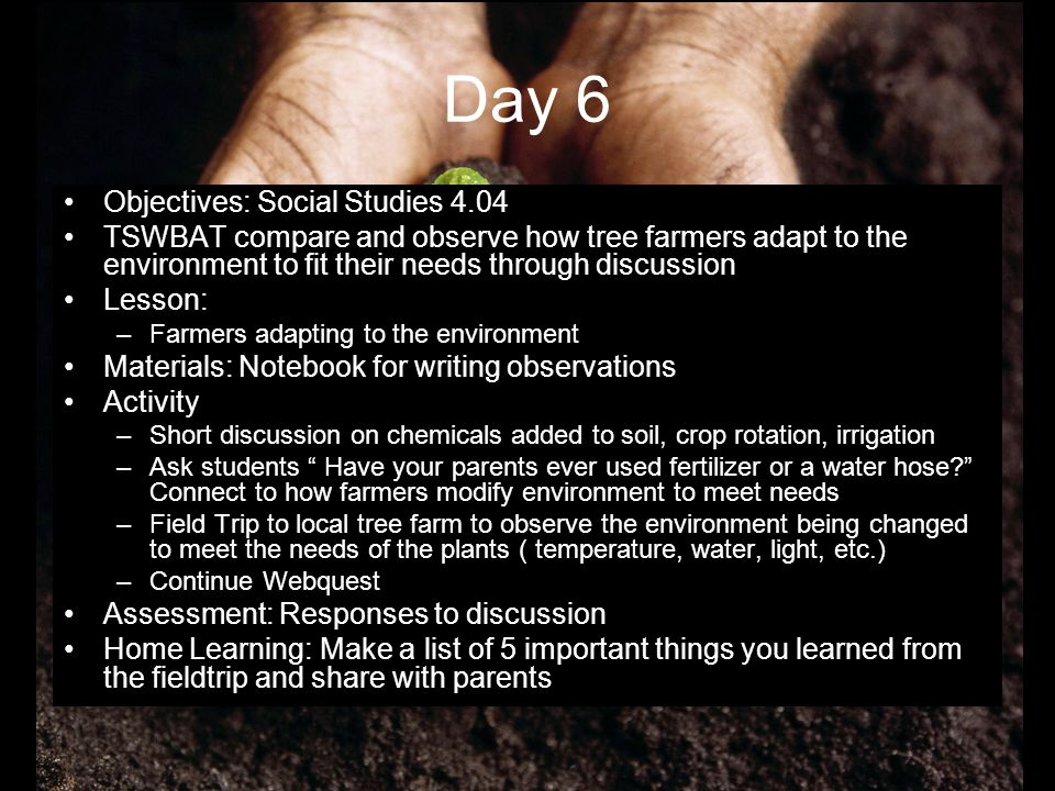 Day 6 Objectives: Social Studies 4.04
