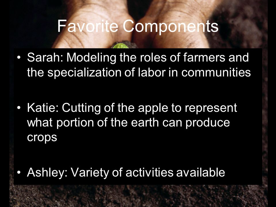 Favorite Components Sarah: Modeling the roles of farmers and the specialization of labor in communities.