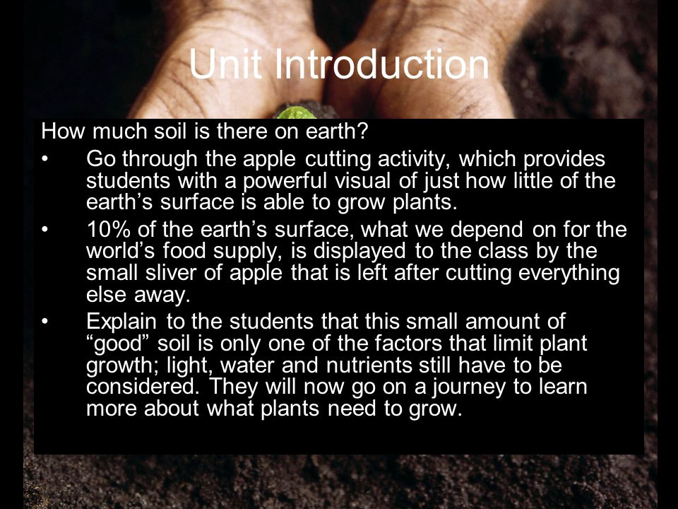 Unit Introduction How much soil is there on earth
