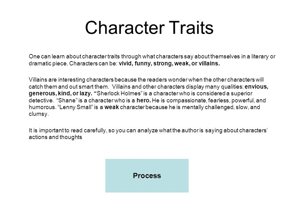 Character Traits Process