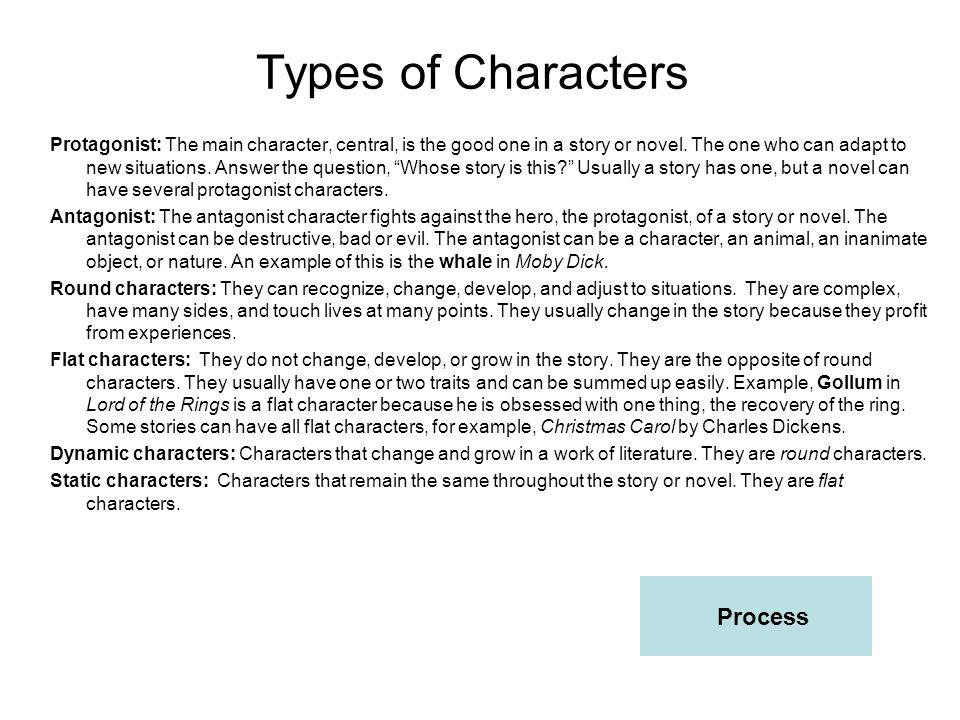 Types of Characters Process