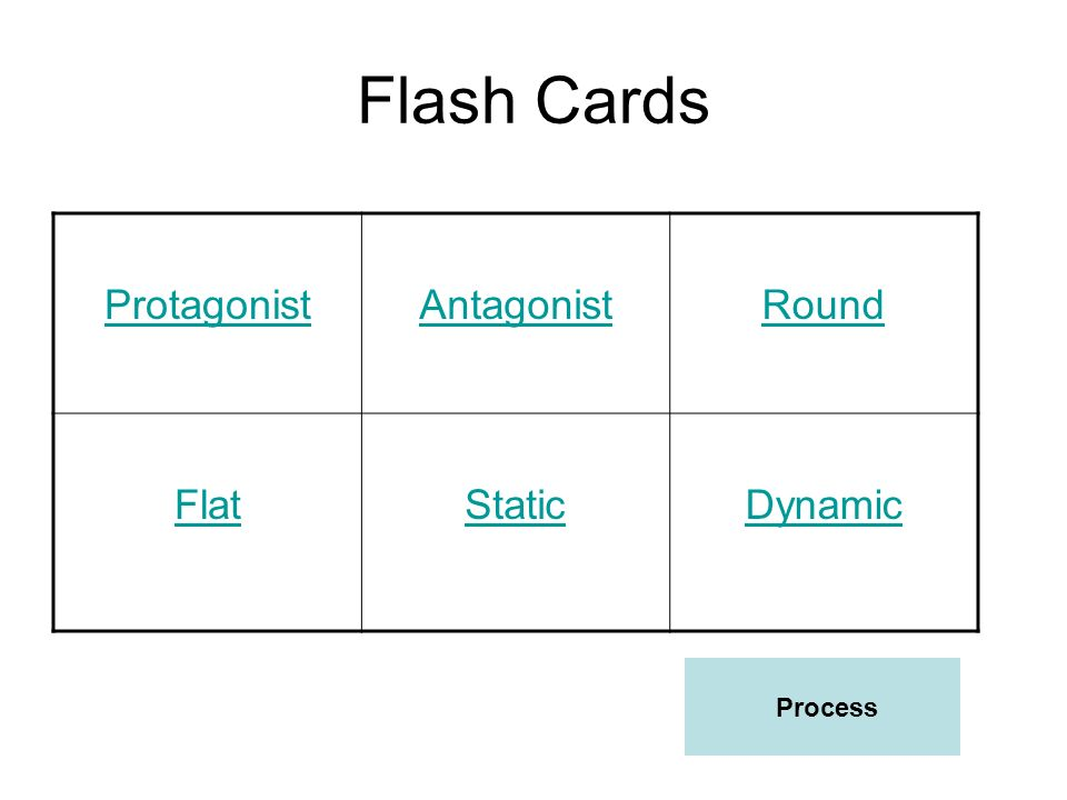 Flash Cards Protagonist Antagonist Round Flat Static Dynamic Process