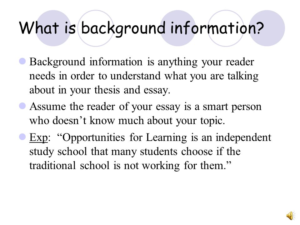 What is background information in essay