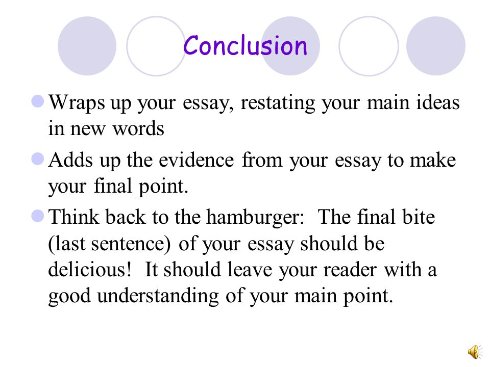 Conclusion Wraps up your essay, restating your main ideas in new words