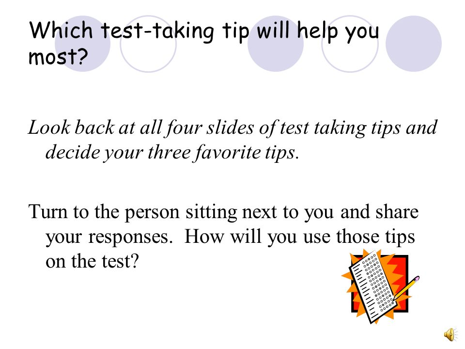 Which test-taking tip will help you most