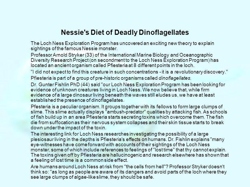 Nessie s Diet of Deadly Dinoflagellates