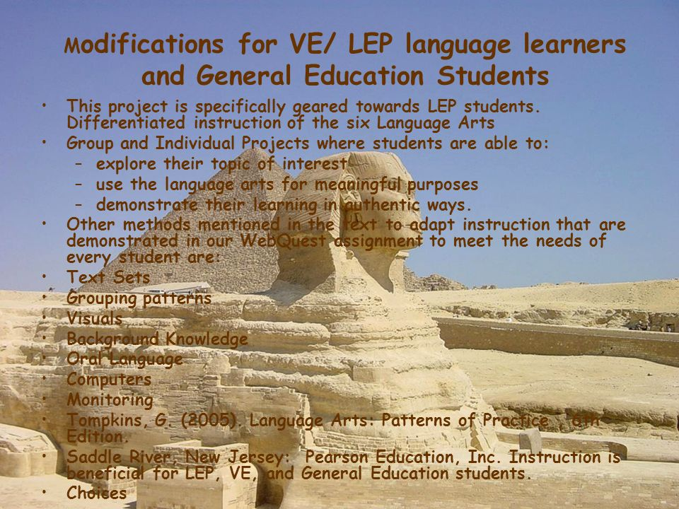 Modifications for VE/ LEP language learners and General Education Students
