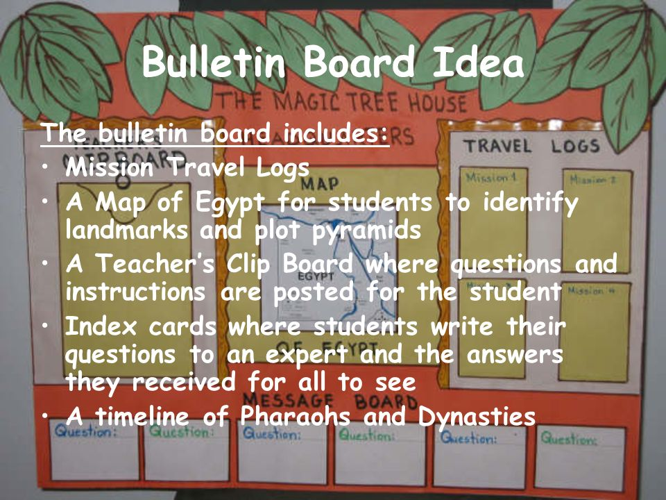 Bulletin Board Idea The bulletin board includes: Mission Travel Logs