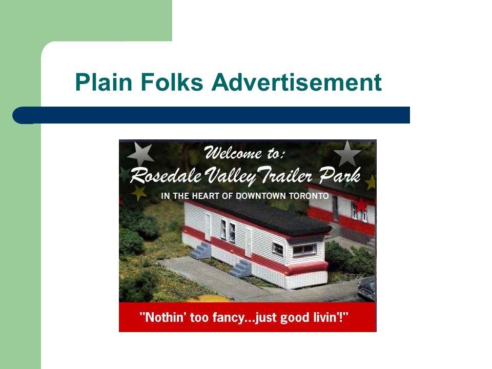 Plain Folks Advertisement