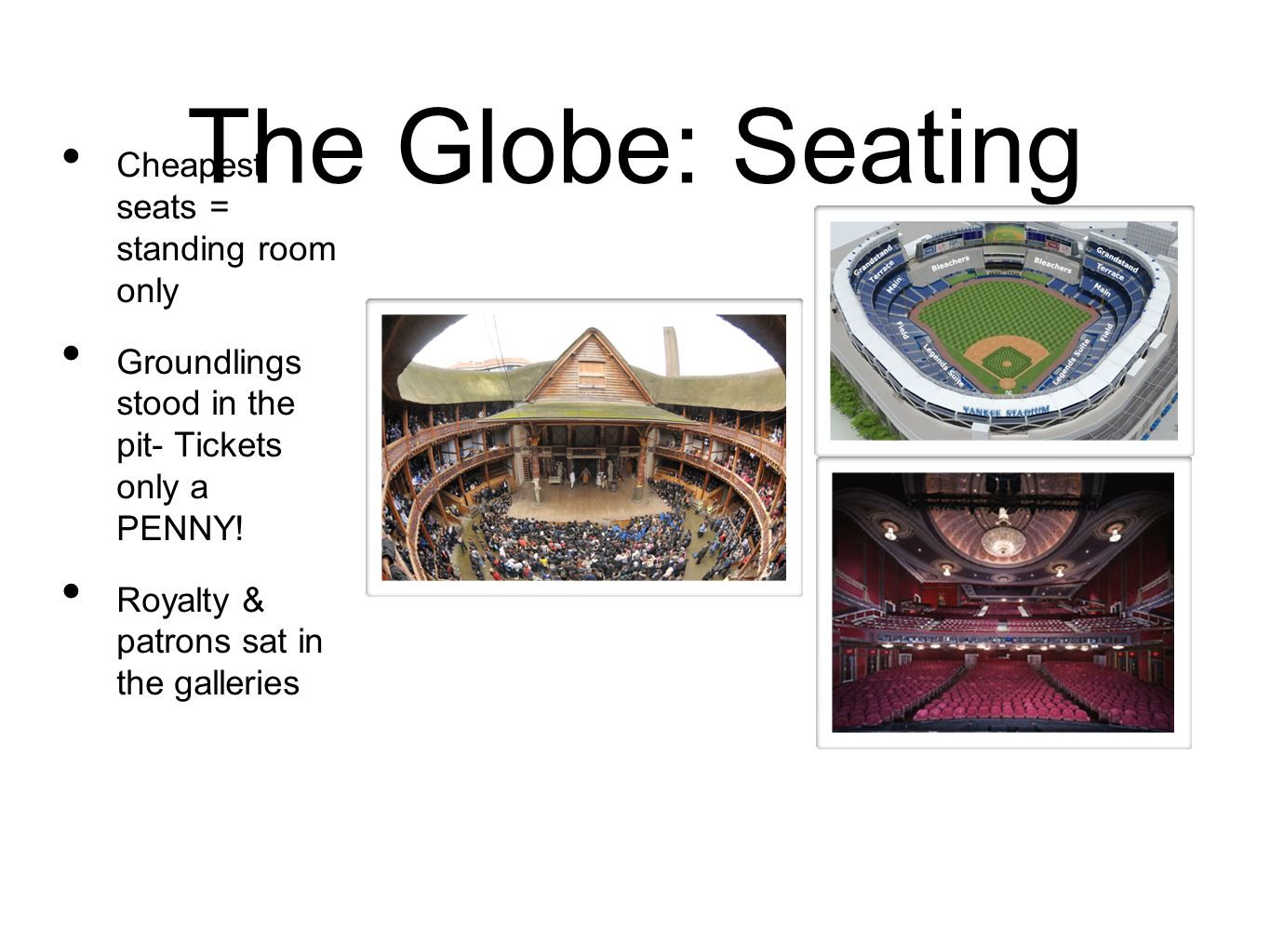 The Globe: Seating Cheapest seats = standing room only