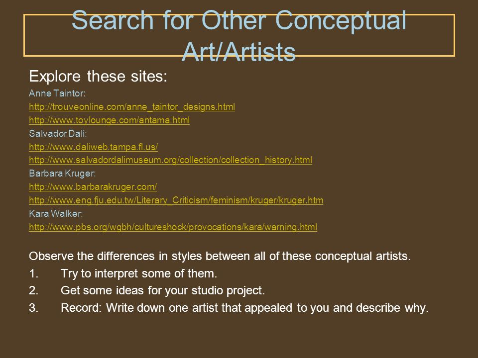 Search for Other Conceptual Art/Artists