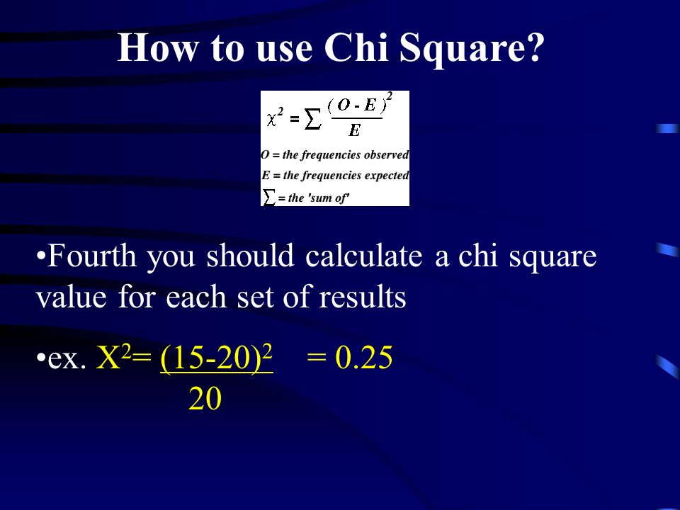 How to use Chi Square. Fourth you should calculate a chi square value for each set of results.