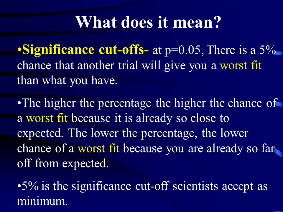 What does it mean Significance cut-offs- at p=0.05, There is a 5% chance that another trial will give you a worst fit than what you have.