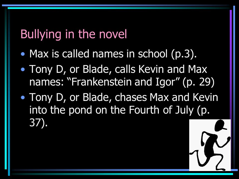 Bullying in the novel Max is called names in school (p.3).