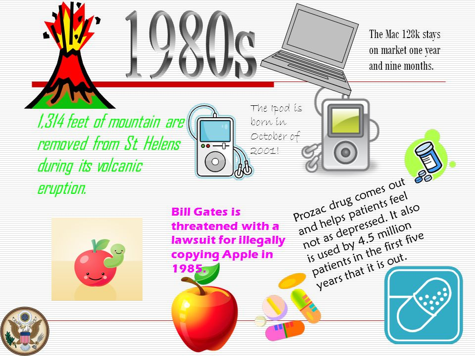 1980s The Mac 128k stays on market one year and nine months. The Ipod is born in October of 2001!