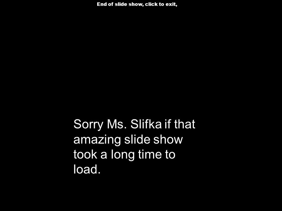 Sorry Ms. Slifka if that amazing slide show took a long time to load.