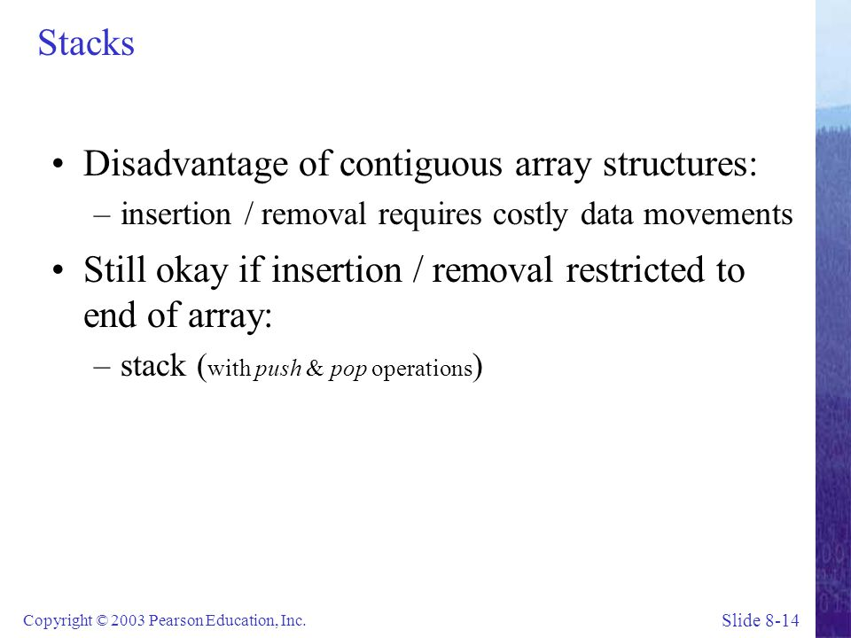 Disadvantage of contiguous array structures: