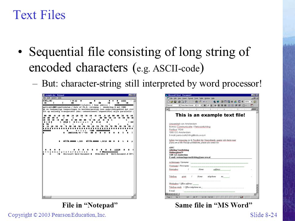 Text Files Sequential file consisting of long string of encoded characters (e.g. ASCII-code)