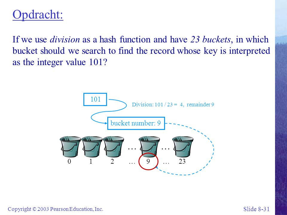 Opdracht: If we use division as a hash function and have 23 buckets, in which bucket should we search to find the record whose key is interpreted as the integer value 101