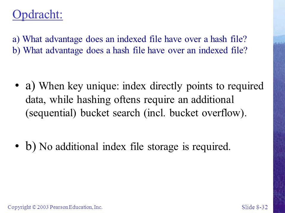 Opdracht: a) What advantage does an indexed file have over a hash file