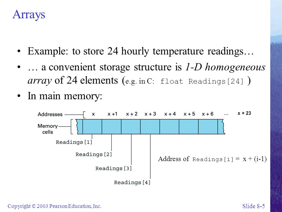 Arrays Example: to store 24 hourly temperature readings…