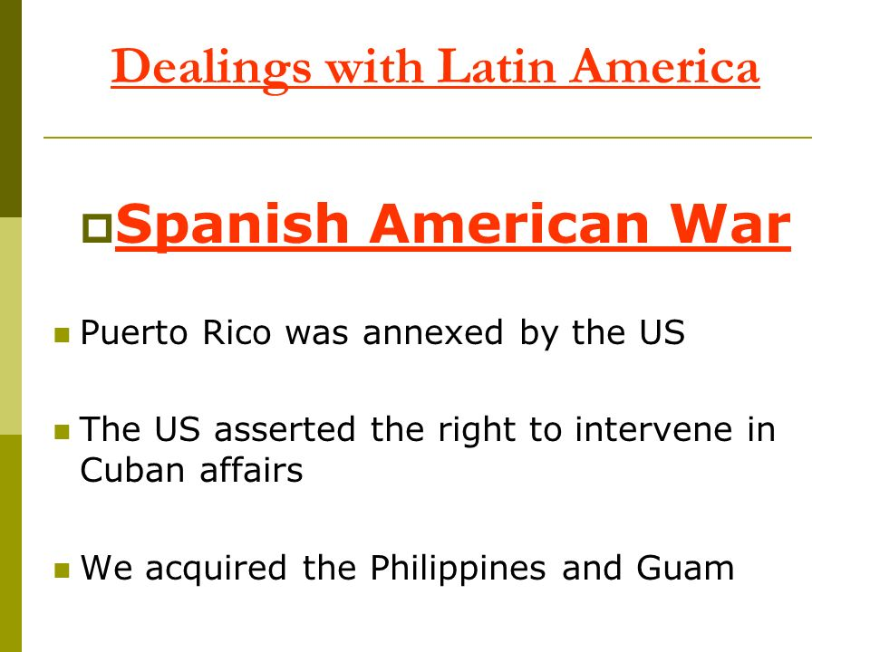Dealings with Latin America