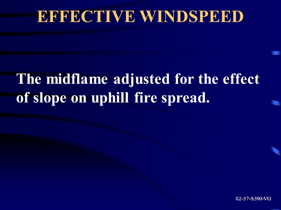 EFFECTIVE WINDSPEED The midflame adjusted for the effect