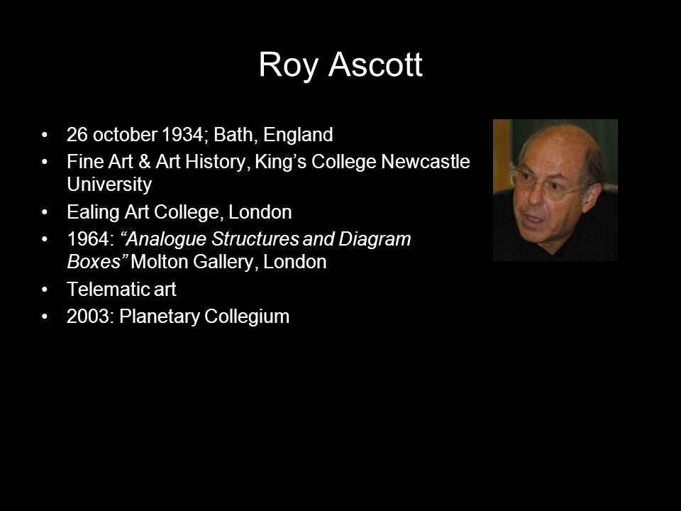 Roy Ascott 26 october 1934; Bath, England