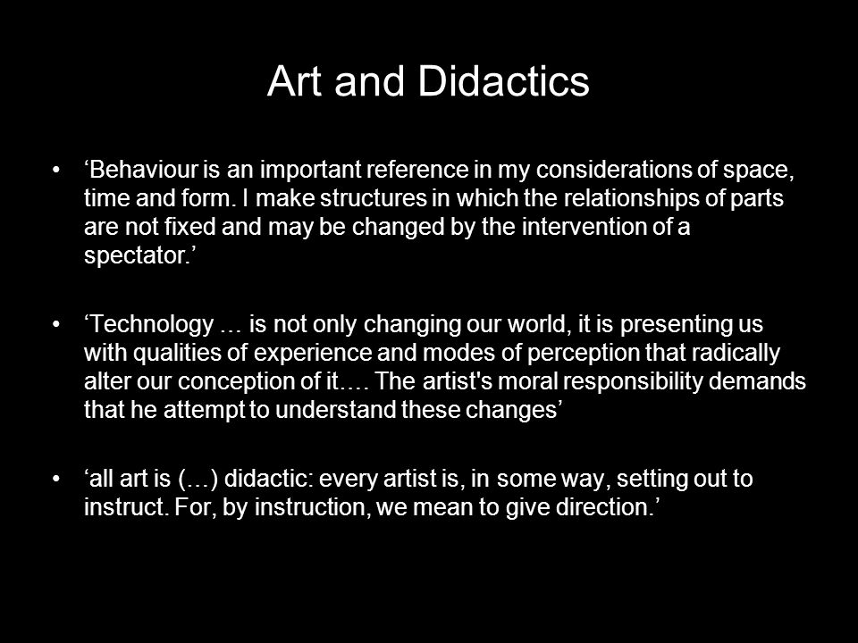 Art and Didactics