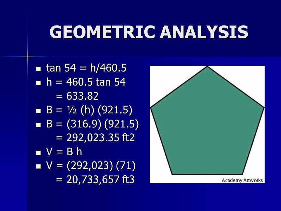 GEOMETRIC ANALYSIS tan 54 = h/460.5 h = 460.5 tan 54 = 633.82