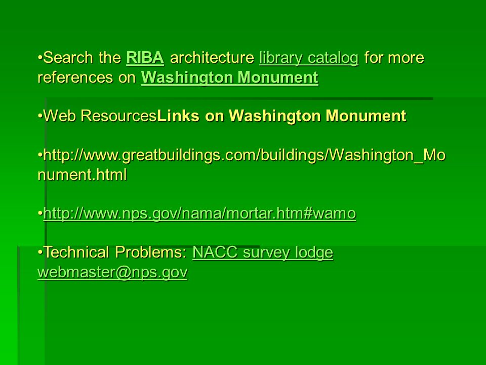 Search the RIBA architecture library catalog for more references on Washington Monument
