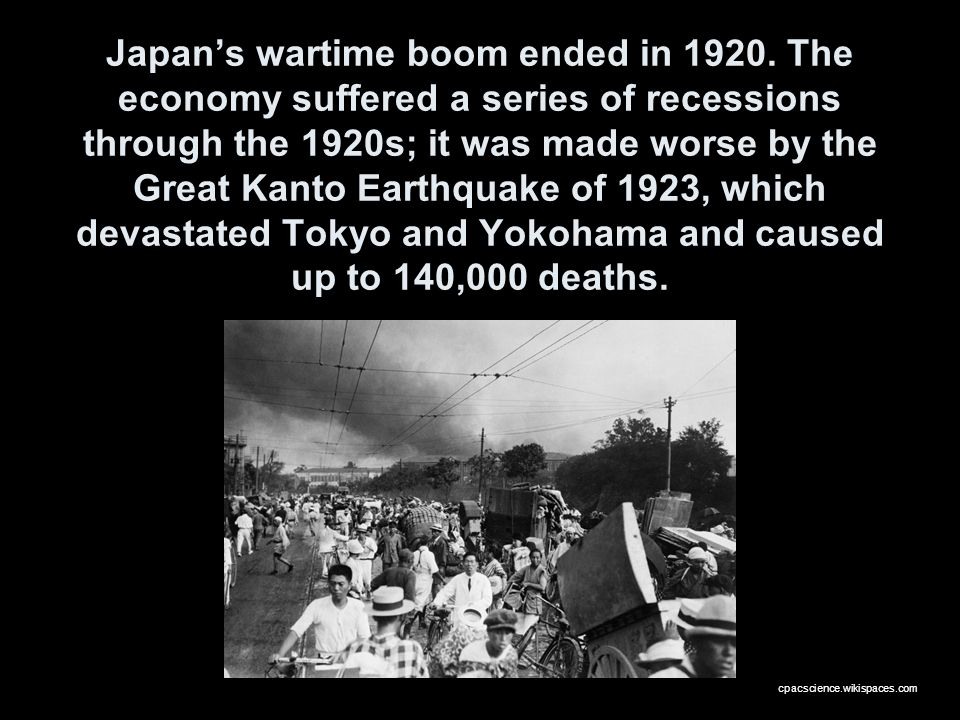 Japan's wartime boom ended in 1920
