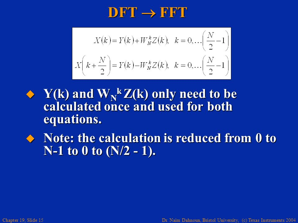 DFT  FFT Y(k) and WNk Z(k) only need to be calculated once and used for both equations.