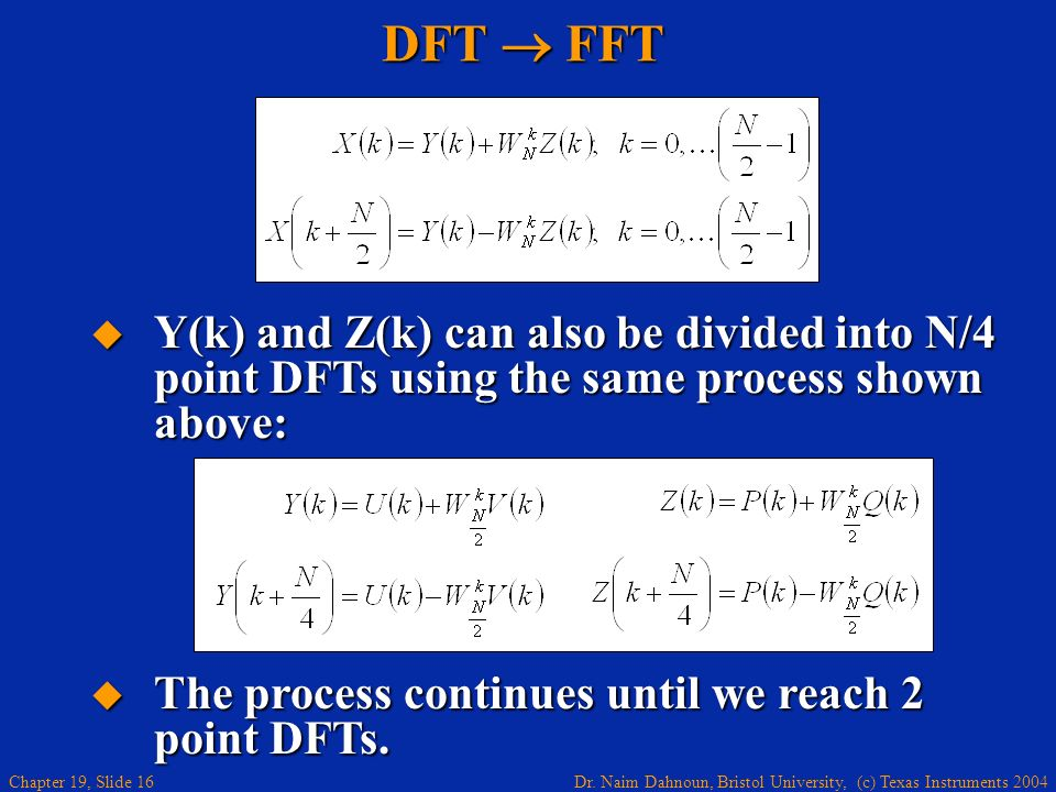 DFT  FFT Y(k) and Z(k) can also be divided into N/4 point DFTs using the same process shown above: